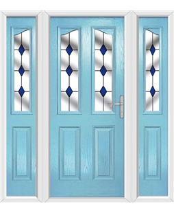The Birmingham Composite Door in Blue (Duck Egg) with Blue Diamonds and matching Side Panels