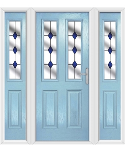 The Cardiff Composite Door in Blue (Duck Egg) with Blue Diamonds and matching Side Panels