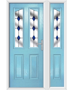 The Birmingham Composite Door in Blue (Duck Egg) with Blue Diamonds and matching Side Panel