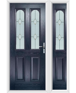 The Aberdeen Composite Door in Blue with Classic Glazing and matching Side Panel