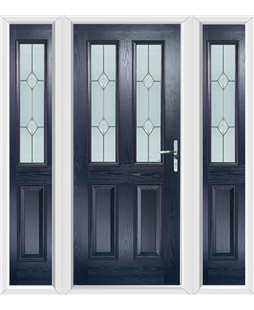 The Cardiff Composite Door in Blue with Classic Glazing and matching Side Panels