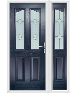 The Birmingham Composite Door in Blue with Classic Glazing and matching Side Panel