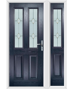 The Cardiff Composite Door in Blue with Classic Glazing and matching Side Panel