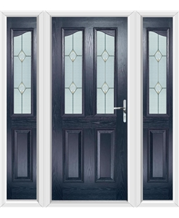 The Birmingham Composite Door in Blue with Classic Glazing and matching Side Panels