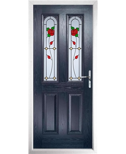 The Aberdeen Composite Door in Blue with English Rose