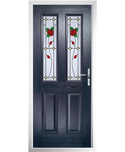 The Cardiff Composite Door in Blue with English Rose