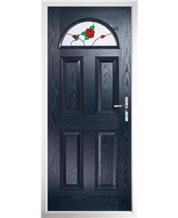 The Derby Composite Door in Blue with English Rose