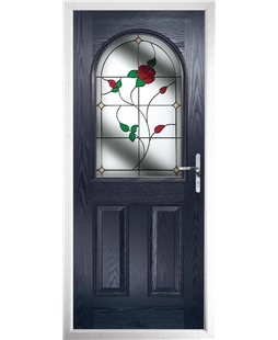 The Edinburgh Composite Door in Blue with English Rose