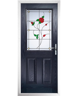 The Farnborough Composite Door in Blue with English Rose