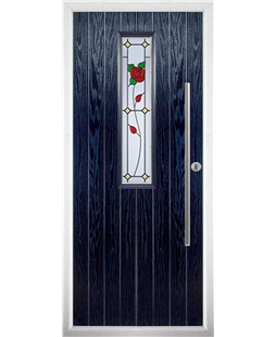 The York Composite Door in Blue with English Rose