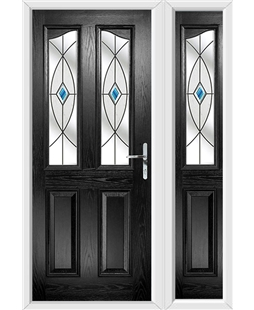 The Birmingham Composite Door in Black with Blue Fusion Ellipse and matching Side Panel