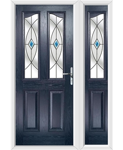 The Birmingham Composite Door in Blue with Blue Fusion Ellipse and matching Side Panel