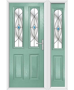 The Aberdeen Composite Door in Green (Chartwell) with Blue Fusion Ellipse and matching Side Panel