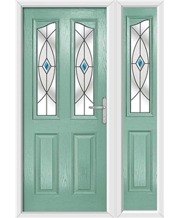 The Birmingham Composite Door in Green (Chartwell) with Blue Fusion Ellipse and matching Side Panel