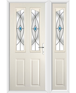 The Birmingham Composite Door in Cream with Blue Fusion Ellipse and matching Side Panel