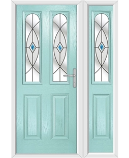 The Aberdeen Composite Door in Blue (Duck Egg) with Blue Fusion Ellipse and matching Side Panel