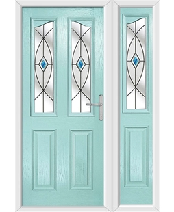 The Birmingham Composite Door in Blue (Duck Egg) with Blue Fusion Ellipse and matching Side Panel