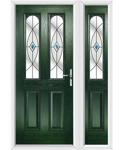 The Aberdeen Composite Door in Green with Blue Fusion Ellipse and matching Side Panel
