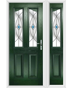 The Birmingham Composite Door in Green with Blue Fusion Ellipse and matching Side Panel