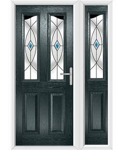 The Birmingham Composite Door in Grey (Anthracite) with Blue Fusion Ellipse and matching Side Panel
