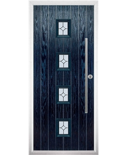 The Leicester Composite Door in Blue with Flair Glazing
