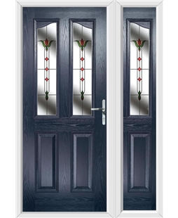 The Birmingham Composite Door in Blue with Fleur and matching Side Panel