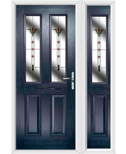The Cardiff Composite Door in Blue with Fleur and matching Side Panel