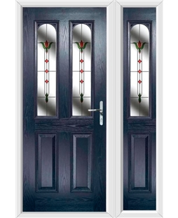 The Aberdeen Composite Door in Blue with Fleur and matching Side Panel