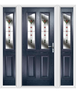 The Birmingham Composite Door in Blue with Fleur and matching Side Panels