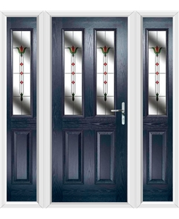 The Cardiff Composite Door in Blue with Fleur and matching Side Panels
