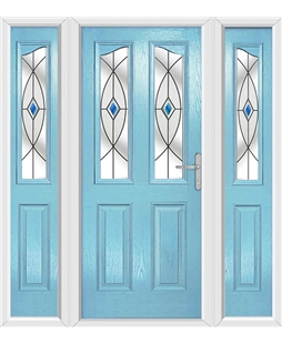The Birmingham Composite Door in Blue (Duck Egg) with Blue Fusion Ellipse and matching Side Panels