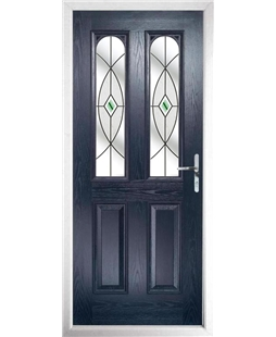 The Aberdeen Composite Door in Blue with Green Fusion Ellipse