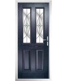 The Cardiff Composite Door in Blue with Green Fusion Ellipse