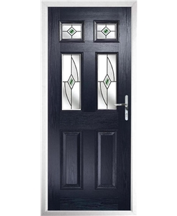 The Oxford Composite Door in Blue with Green Fusion Ellipse