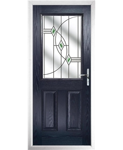 The Farnborough Composite Door in Blue with Green Fusion Ellipse