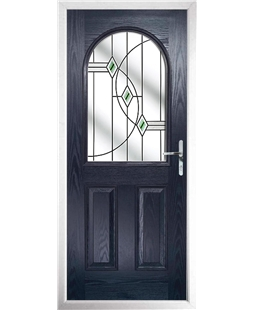 The Edinburgh Composite Door in Blue with Green Fusion Ellipse