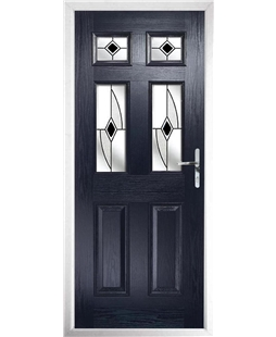 The Oxford Composite Door in Blue with Black Fusion Ellipse