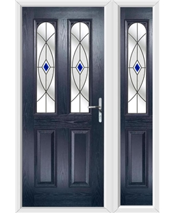 The Aberdeen Composite Door in Blue with Blue Fusion Ellipse and matching Side Panel