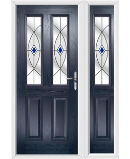 The Cardiff Composite Door in Blue with Blue Fusion Ellipse and matching Side Panel