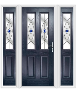 The Cardiff Composite Door in Blue with Blue Fusion Ellipse and matching Side Panels