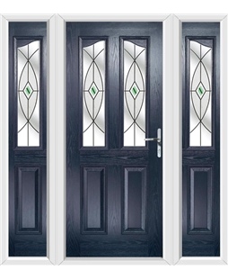 The Birmingham Composite Door in Blue with Green Fusion Ellipse and matching Side Panels