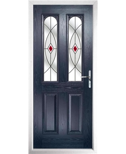 The Aberdeen Composite Door in Blue with Red Fusion Ellipse