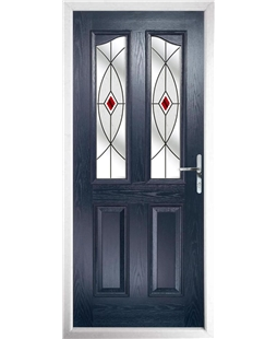 The Birmingham Composite Door in Blue with Red Fusion Ellipse