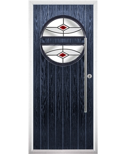 The Xenia Composite Door in Blue with Red Fusion Ellipse
