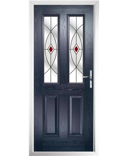 The Cardiff Composite Door in Blue with Red Fusion Ellipse