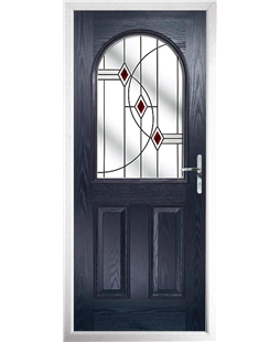 The Edinburgh Composite Door in Blue with Red Fusion Ellipse
