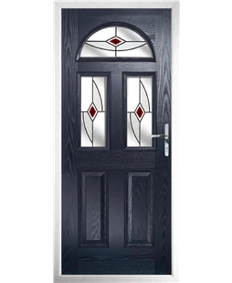 The Glasgow Composite Door in Blue with Red Fusion Ellipse