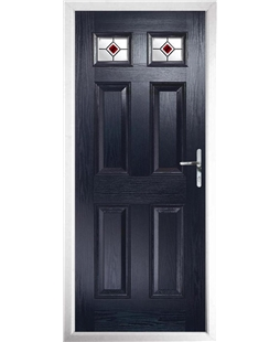 The Ipswich Composite Door in Blue with Red Fusion Ellipse