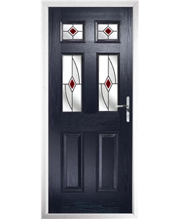 The Oxford Composite Door in Blue with Red Fusion Ellipse