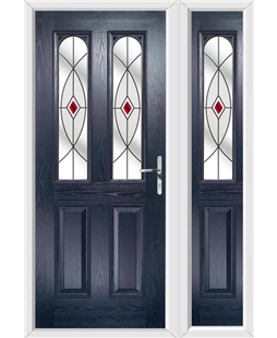 The Aberdeen Composite Door in Blue with Red Fusion Ellipse and matching Side Panel